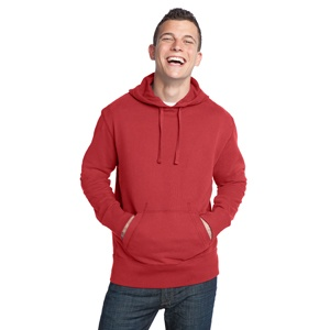 Young Mens Vintage French Terry Pullover Hoodie in Dashing Red