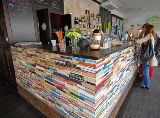 Recycled bar. Cafe in Warsaw.