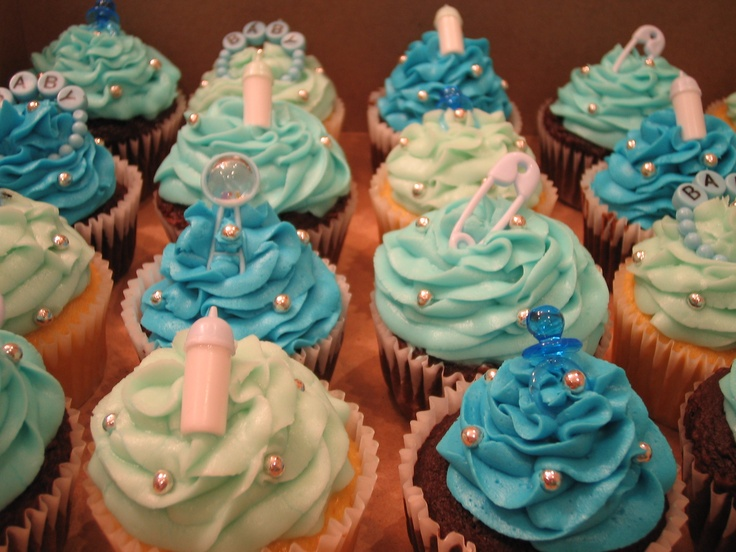 Baby Boy Cupcakes... For my bosses baby shower.