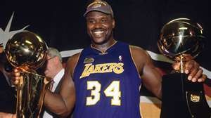 Image detail for -Framed at the Lakers business office in advance of a charitable donation, the tag on Shaquille O'Neal's warm up jersey from the 2001 NBA Finals reads: 4 XL, 2 ...
