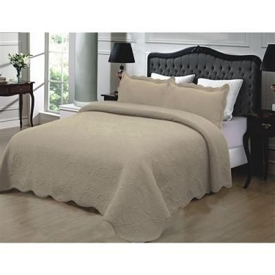 California King 3-Piece Quilted Bedspread 100% Cotton in Taupe- Free Shipping