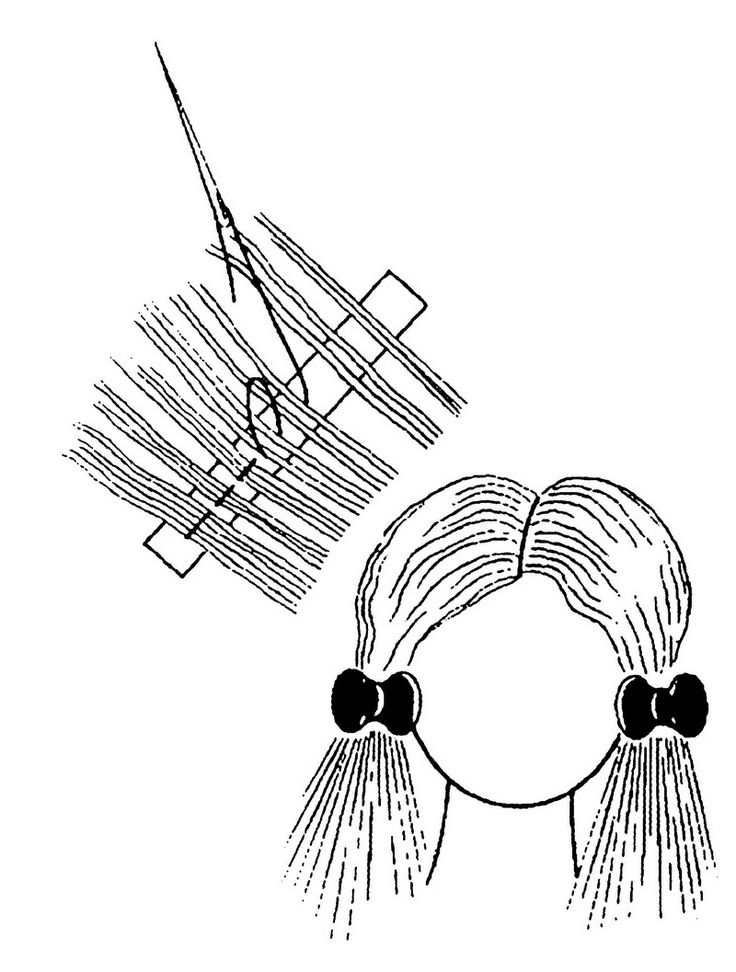 TudoProArtesanato: Colocar o cabelo numa boneca de tecido - PAP
