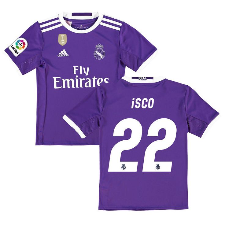 f93deff76b7 ... Isco Real Madrid adidas Youth 201617 Away Club World Cup Champions  Patch Replica Jersey - Purple 2017 2018 Real Madrid men long sleeve soccer  Jerseys ...