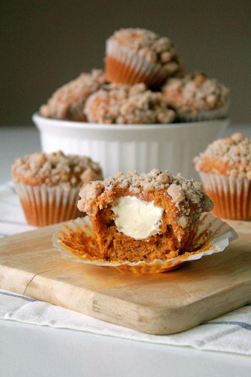 Pumpkin & Cream Cheese Muffins with Walnut Streusel