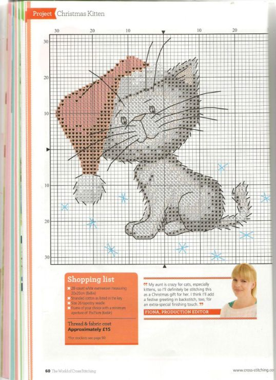 Cat with Santa hat free cross stitch pattern