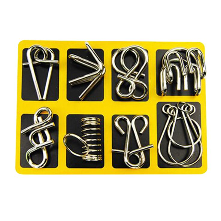 Montessori Materials 8pcs/set Metal Wire Puzzle IQ Mind Brain Teaser Puzzles Game For Adults And Kids Eeducational Toy #clothing,#shoes,#jewelry,#women,#men,#hats,#watches,#belts,#fashion,#style