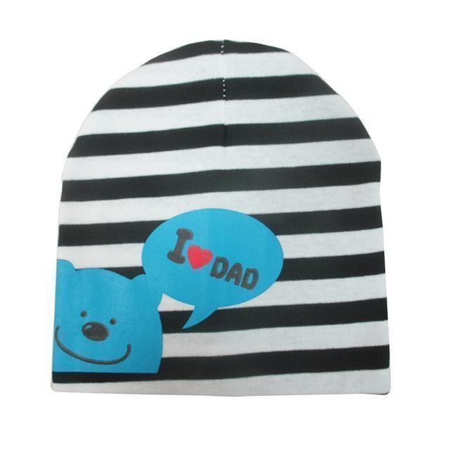 Soft Warm Baby Hat Cap I Love Papa Mama Print Cotton Kid Hats Toddler Beanie