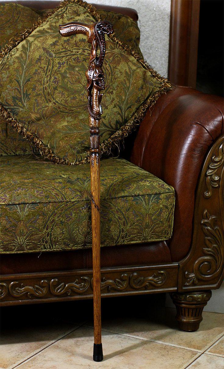 Kobra & SKULL CANE dunkle Gehstock Holzgriff Handcarved von GCArtis