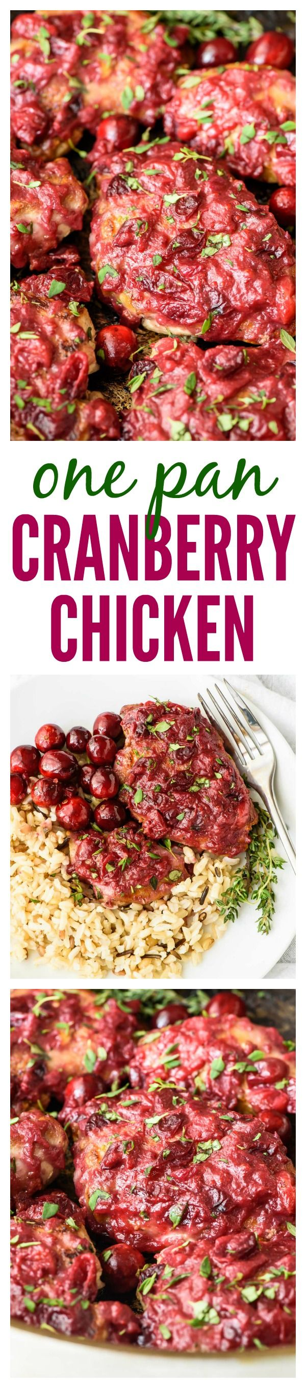 One Pan Cranberry Chicken. Juicy chicken with a sticky cranberry glaze. Ready in only 30 minutes!                                                                                                                                                                                 More