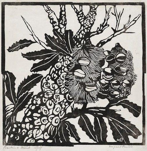 Margaret Preston Banksia -  Method: printmaking Media: Silkcut Lino Material: Printmaking paper