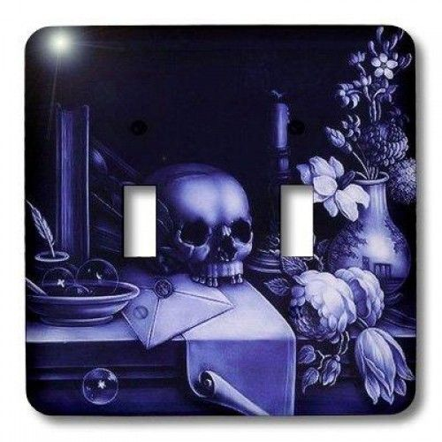 3dRose LLC lsp_18237_2 Halloween Skulls, Double Toggle Switch  Halloween Skulls Light Switch Cover is made of durable scratch resistant metal that will not fade, chip or peel. Featuring a high gloss finish, along with matching screws makes this cover the perfect finishing touch. Features : Dimensions: 4 1/2-Inch H x 5-Inch W *Made of strong, durable scratch-resistant metal *Includes matching screws *High gloss finish *Easy to clean
