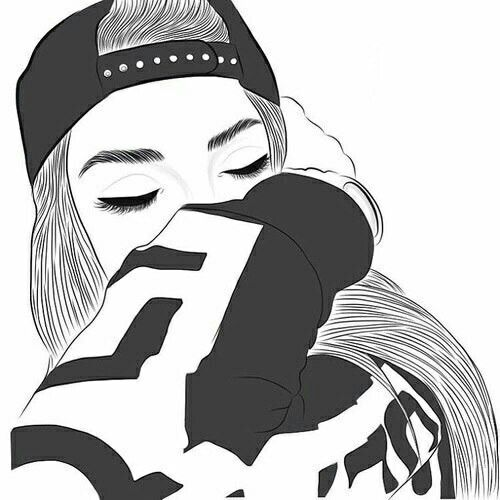 Girl dabbing Drawing, no color, outline