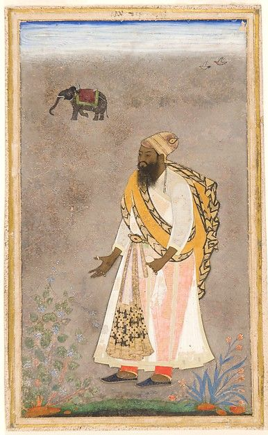"""Sultan Ibrahim 'Adil Shah II Standing Artist: Attributed to the """"Bodleian painter"""" Object Name: Single work, illustrated Date: ca. 1620 Geography: India, Bijapur Culture: Islamic Medium: Ink, opaque watercolor, and gold on paper Dimensions: Image: 7 in. × 4 7/16 in. (17.8 × 11.3 cm) Frame: 23 1/16 × 17 1/16 in. (58.6 × 43.3 cm) Classification: Codices Credit Line: The San Diego Museum of Art, Edwin Binney 3rd Collection, 1990.440"""