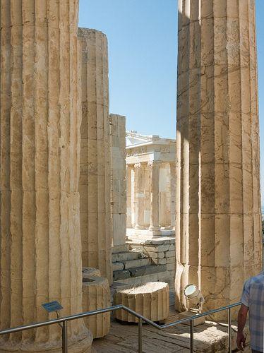 The Propylaea Propylaea columns, with the Temple of Athena Nike beyond