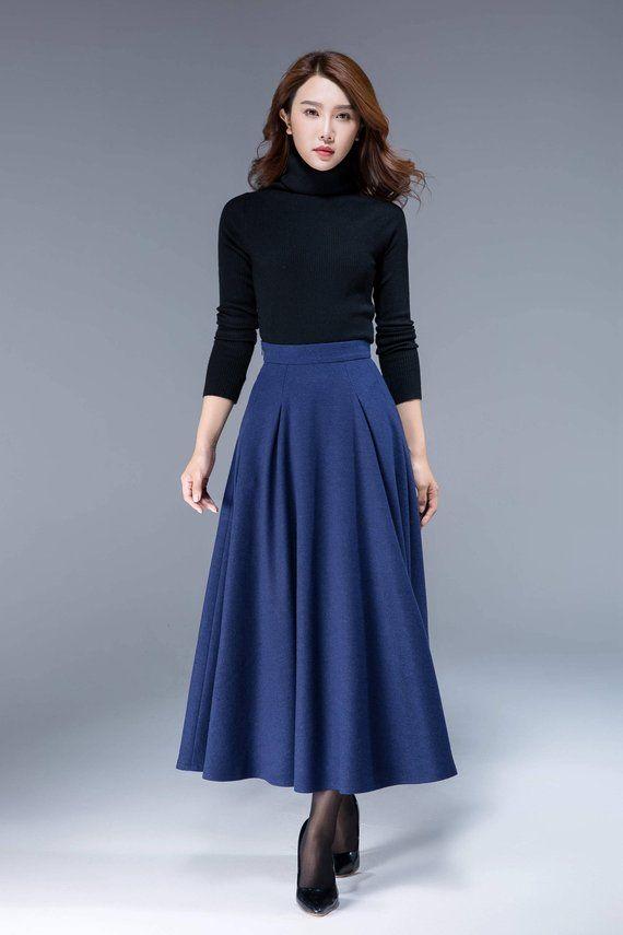 Blue wool skirt, high waisted skirt, skirt with pocekts, pleated skirt, fit and flare skirt, warm skirt, womens skirt, winter skirt 1806# – Winter Fell Other Balls