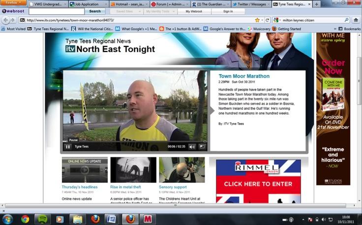 Simon Buckden on Tyne Tees News - http://www.itv.com/tynetees/town-moor-marathon94073/