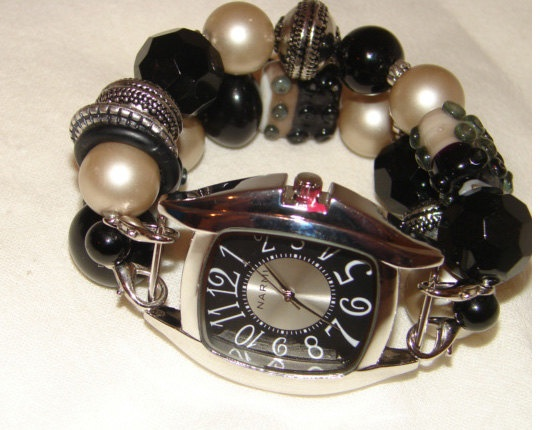 Black and Tan Chunky Beaded Watch Band and Face  by BeadsnTime, $30.00