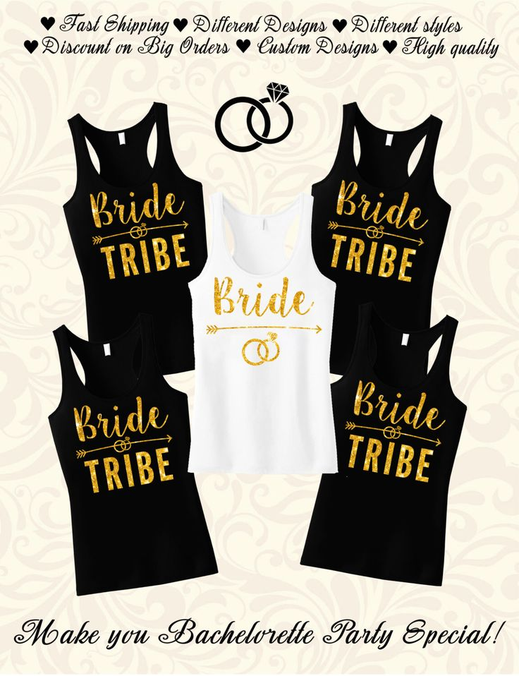 Bride Tribe, Bridesmaid shirt, Bridesmaid gift, Bachelor party shirts, Bridal party, Bachelorette party tank top, Bridal shower gift by HandmadeTeez on Etsy https://www.etsy.com/listing/473395978/bride-tribe-bridesmaid-shirt-bridesmaid