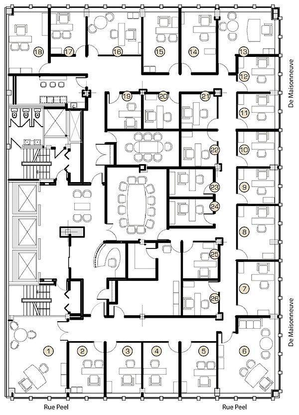 19 best plans images on pinterest floor plans hospital for Typical office floor plan