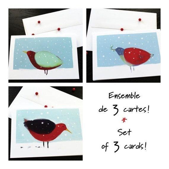 Cartes Noël Fêtes Nouvel An  Ensemble de 3 cartes de voeux