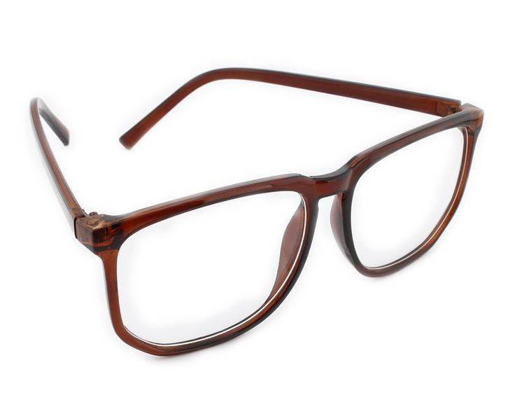Mode Damen Brillengestell Wayfarer Herren Nerd brille ohne stärke lesebrille 8061 Brau