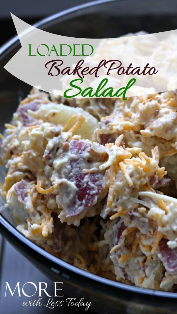 Loaded baked potato salad  easy recipe, perfect for your Memorial Day BBQ. Classic potato salad recipe - loaded baked potato salad with bacon and cheese - favorite potato salad recipe-picnic food