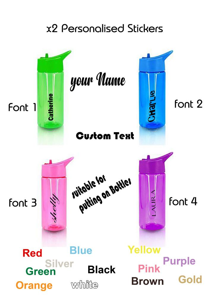 2 x Personalised Name Stickers For Water Drinks Bottle School Football Bikes Kid #personalised #Stickers