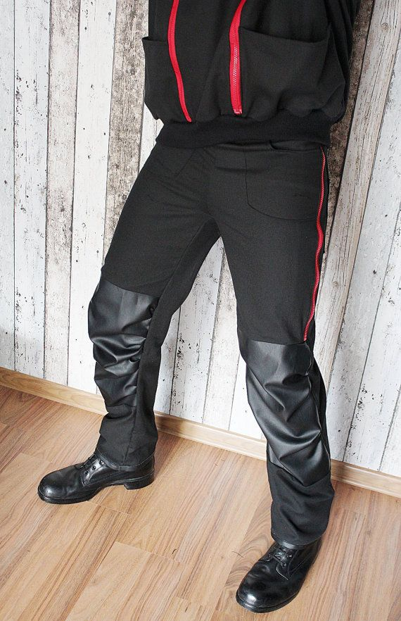 Rock Metal Men's Pants with zips and eco leather –M - bio