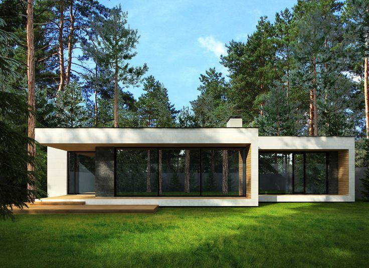 Проект загородного дома в Комарово в минималистичном стиле. Компактный одноэтажный частный дом в современном стиле. Эскизный проект. Смотреть фотографии проекта.