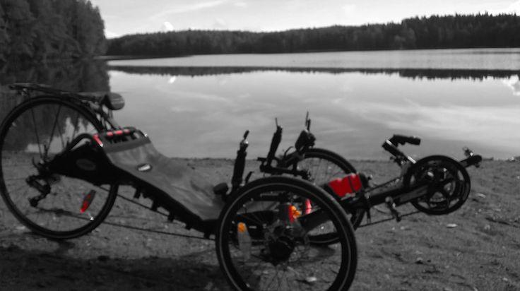 Katriina on a geocaching trip by lake Särkijärvi, Lempäälä, Finland.