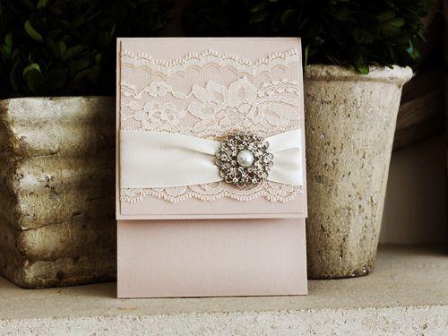 Invitation 1036: Blush Pearl, Blush Pearl, Cream Smooth, Allura, High Tower, Antique Ribbon, Cream Lace, Brooch/Buckle A6