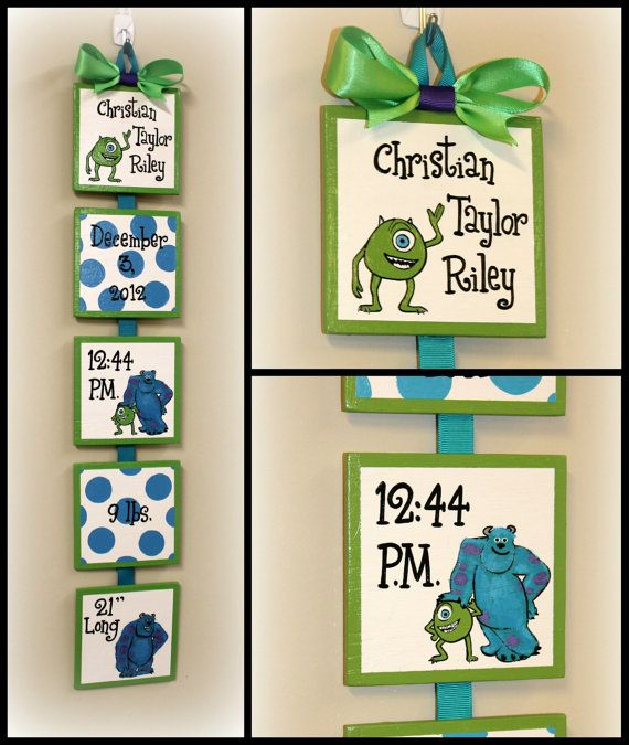 Disney Monsters Inc Style Birth Announcement For Babyu0027s Nursery Or Childu0027s  Bedroom   Personalized Wall Art