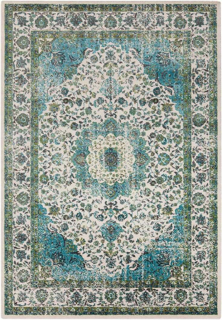Aberdine Teal Lime Area Rug