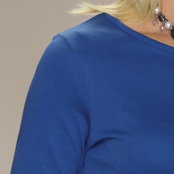 Rosella semi-fitted crew neck top long sleeves ultramarine blue detail