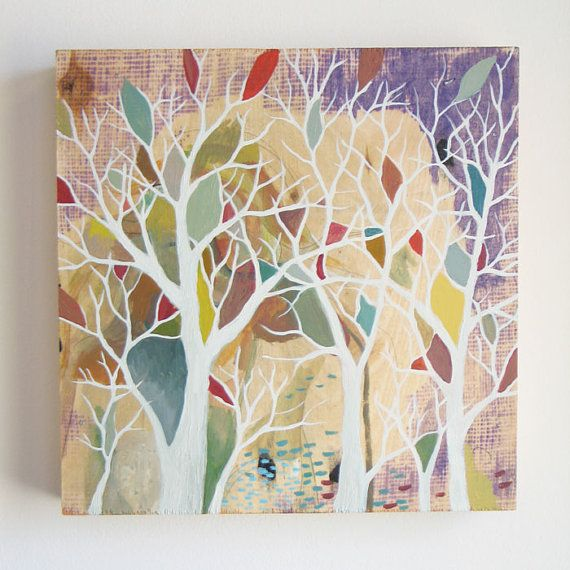 Hidden By Trees Original Acrylic Painting On Wood
