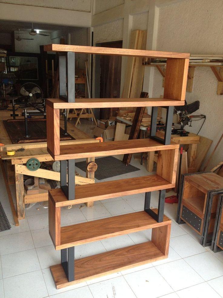 Hardwood and metal bookshelf en 2019 mobiliario for Muebles industriales metal baratos