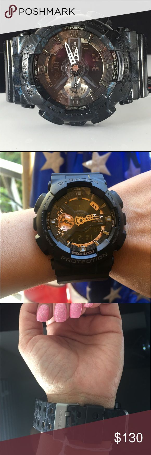 NWT Rugged Black Gold G Shock Men's Watch Casio Is this the best G Shock Men's Watch?  You decide!  Stylish Sport BLACK GOLD Watch Module No. 5146 5425 200 m Water Resistance Auto Light World Time 1/1000 Sec Stopwatch Speed Indicator Casio Accessories Watches