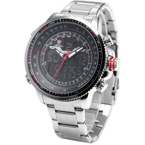 SHARK Military LCD Digital Analog Army Steel Quartz Sport Wrist Watch
