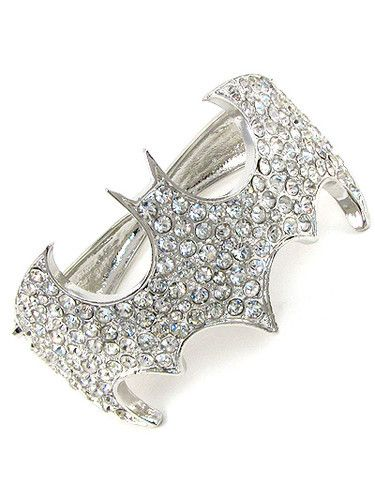 Batman bangle bracelet with clear rhinestones. Opens in the back to accommodate wrist. Nickel and Lead Free.