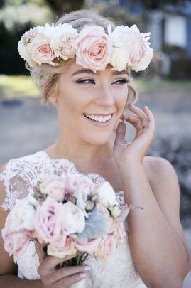 Our blush pink and white floral crown and bouquet design for our bride Esther Heisse.  Made of roses, stick, dusty miller, carnations, chrysanthemums.  Flowers and wedding planning by Alison Hughes Weddings & Events www.alisonhughesweddings.com.  Photography by Bird & Bee Studio www.birdandbee.com.au.  Bridal Gown by Vellos Bridal & Evening Couture www.vellosbridal.com.au.  Hair by Louise Richmond Hair Design www.louiserichmondhairdesign.com.au.  Make Up by DEEstraction Make Up. xxx