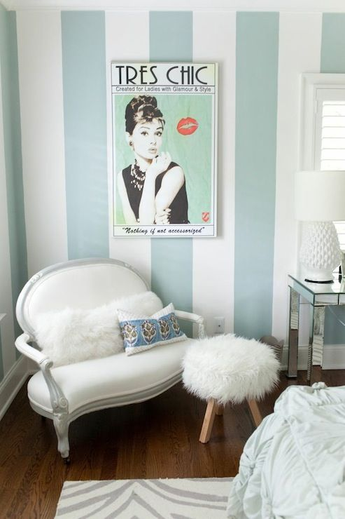 Pretty soft aqua striped wall   glam furnishings  Perfect for a teenage  girl s Tiffany inspired. Best 25  Blue striped walls ideas on Pinterest   Striped walls