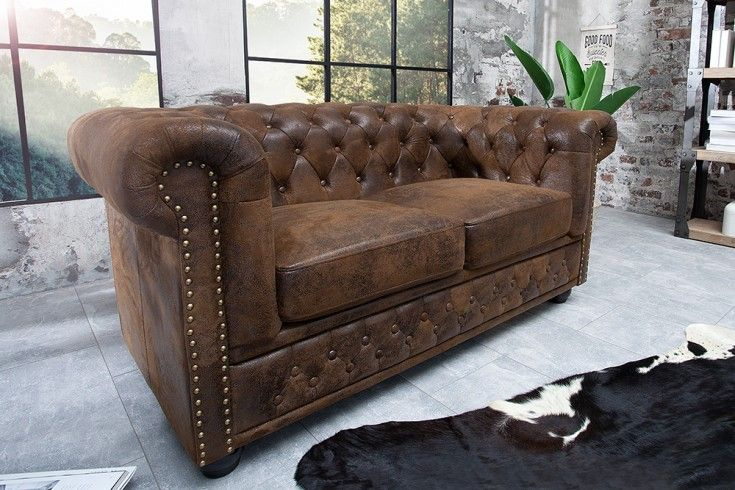 Chesterfield 2er Sofa In Antik Braun Riess Ambiente De Chesterfield Sofa 3er Sofa 2er Sofa