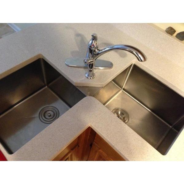 Ruvati 50 50 Undermount 16 Gauge Stainless Steel 44 In Corner Butterfly Double Bowl Kitchen Sink Rvh8400 The Home Depot Corner Sink Kitchen Best Kitchen Sinks Double Bowl Kitchen Sink