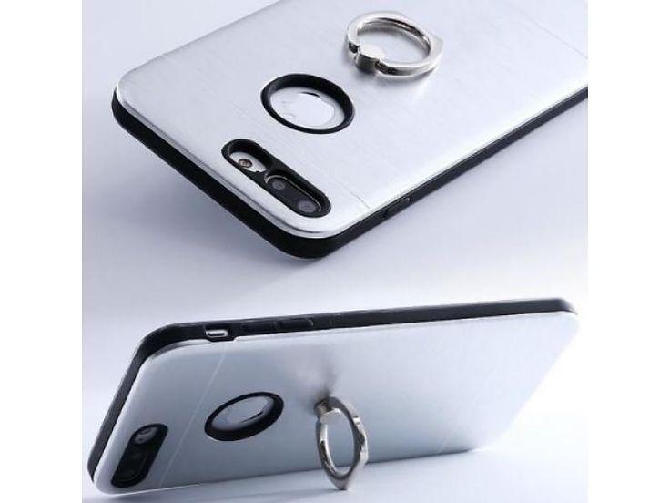 Telefoonhoes zilver metaal met ringsocket:  Puur en simpel, strak design. Hard case voor optimale bescherming met geïntegreerde ringsocket.