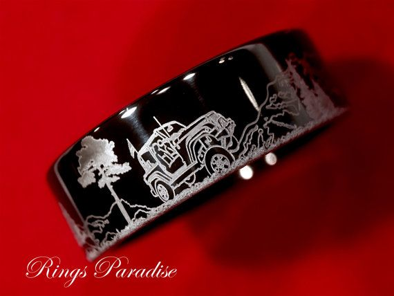 Men's Tungsten Wedding Band Jeep Wrangler Design by RingsParadise