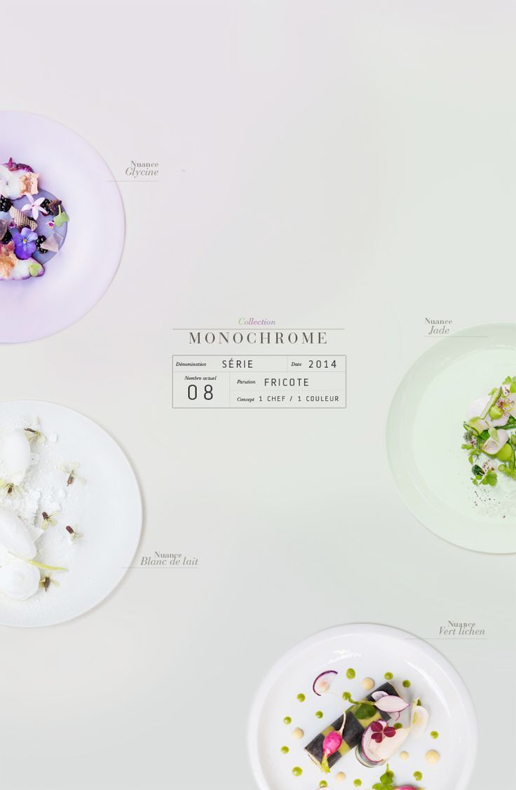Im absolutely LOVING this white empty space design layout involving infographic elements and food!! | Griottes, Monochrome Series by Emilie Guelpa | Trendland #infographics