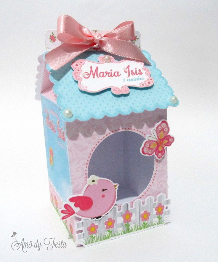 Caixa Milk em formato de casinha para o tema passarinho    impresso em papel offset 240g