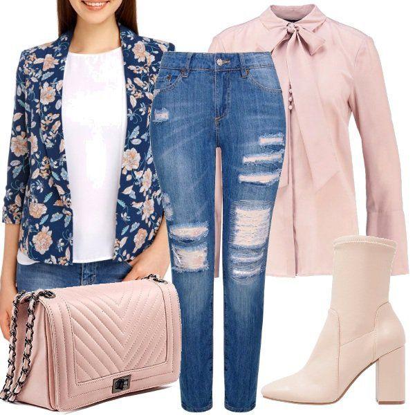 Lo+so,+adori+i+jeans!+Non+rinunceresti+mai+a+non+inserirli+anche+nei+look+eleganti,+vero?+Oggi+ti+voglio+accontentare+e+ti+propongo+di+inserire+i+tuoi+amati+boyfriend+strappati+in+un+look+bon+ton,+ci+stai?+Completa+questo+outfit+inserendo+una+camicia+con+fiocco+in+rosa+chiaro,+un+blazer+a+fantasia+floreale,+una+tracolla+trapuntata+e+degli+stivaletti+con+tacco.