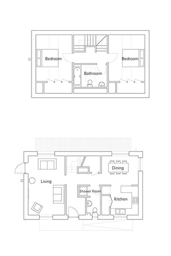 The R.House by Rural Design | www.facebook.com/SmallHouseBlisstake out wall between entry and living room, straighten wall of bathroom and remove closet. no formal dining and extend kitchen eating bar for 4