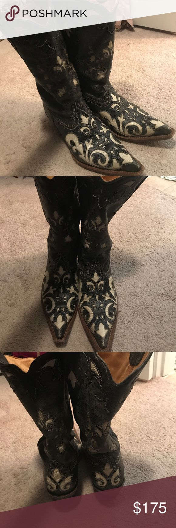 Women's corral boots Black and white distressed boots. Slightly worn but still in good condition! Size 8 but I can wear 7.5 or 8 depending on the shoe. Make an offer! corral Shoes Heeled Boots